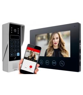 WIDEODOMOFON videodomofon CZARNY, 7'', WiFi, otwieranie 2 wejść, szyfrator, czytnik zbliżeniowy VDP-90A3