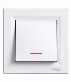 Asfora Przycisk z podświetleniem (zaciski śrubowe) biały Schneider EPH1600321