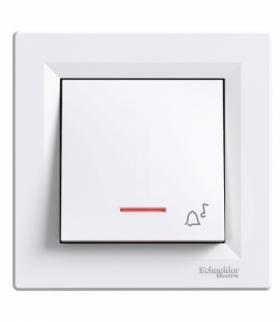 Asfora Przycisk dzwonek z podświetleniem (zaciski śrubowe) biały Schneider EPH1700321