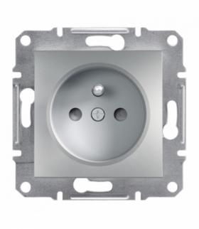 Asfora Gniazdo 2P+PE z przesłonami bez ramki, aluminium Schneider EPH2800261