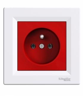Asfora Gniazdo pojedyncze 2P+PE czerwono-biały Schneider EPH2800421