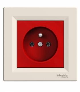 Asfora Gniazdo pojedyncze 2P+PE czerwono-kremowy Schneider EPH2800423