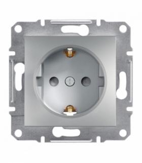 Asfora Gniazdo pojedyncze SCHUKO z przesłonami aluminium Schneider EPH2900261
