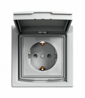 Asfora Gniazdo pojedyncze SCHUKO IP44 aluminium Schneider EPH3100361