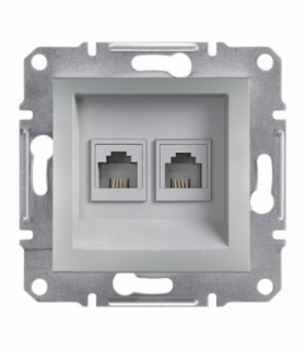 Asfora Gniazdo telefoniczne 2x RJ11 bez ramki aluminium Schneider EPH4200161