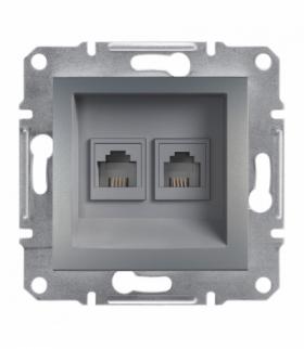 Asfora Gniazdo telefoniczne 2x RJ11 bez ramki stal Schneider EPH4200162