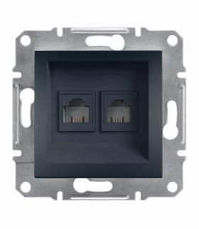 Asfora Gniazdo telefoniczne 2x RJ11 bez ramki antracyt Schneider EPH4200171
