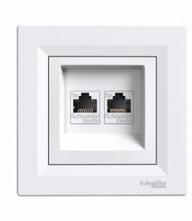 Asfora Gniazdo komputerowe 2x RJ45 kat.5e UTP biały Schneider EPH4400121