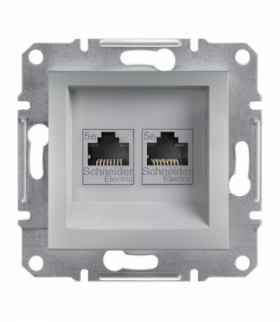 Asfora Gniazdo komputerowe 2x RJ45 kat.5e UTP bez ramki aluminium Schneider EPH4400161