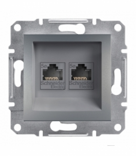 Asfora Gniazdo komputerowe 2x RJ45 kat.5e UTP bez ramki stal Schneider EPH4400162