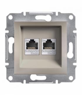 Asfora Gniazdo komputerowe 2x RJ45 kat.5e UTP bez ramki brąz Schneider EPH4400169
