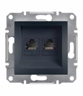 Asfora Gniazdo komputerowe 2x RJ45 kat.5e UTP bez ramki antracyt Schneider EPH4400171