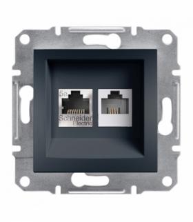Asfora Gniazdo telefoniczne RJ11+komputerowe kat.5e UTP bez ramki antracyt Schneider EPH4900171