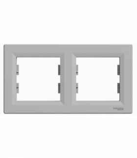 Asfora Ramka 2-krotna pozioma aluminium Schneider EPH5800261
