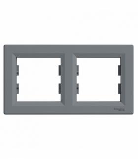 Asfora Ramka 2-krotna pozioma stal Schneider EPH5800262
