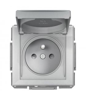 Asfora Gniazdo 2P+PE IP44 do systemu ramkowego, aluminium Schneider EPH2800661