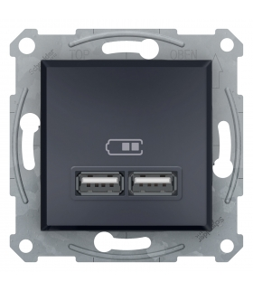 Asfora Gniazdo ładowarki USB 2.1A bez ramki, antracyt Schneider EPH2700271