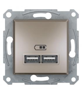 Asfora Gniazdo ładowarki USB 2.1A bez ramki, brąz Schneider EPH2700269