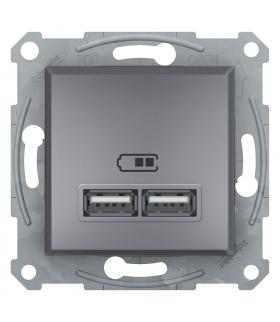 Asfora Gniazdo ładowarki USB 2.1A bez ramki, stal Schneider EPH2700262