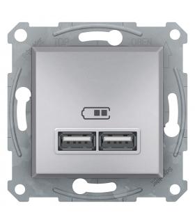 Asfora Gniazdo ładowarki USB 2.1A bez ramki, aluminium Schneider EPH2700261