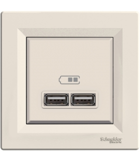 Asfora Gniazdo ładowarki USB 2.1A z ramką, kremowy Schneider EPH2700223