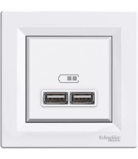 Asfora Gniazdo ładowarki USB 2.1A z ramką, biały Schneider EPH2700221