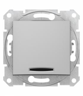 Sedna Łącznik 1-biegunowy z podświetleniem aluminium Schneider SDN1400160