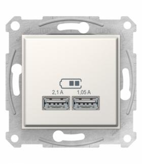 Sedna Gniazdo ładowarki USB 2.1A kremowy Schneider SDN2710223
