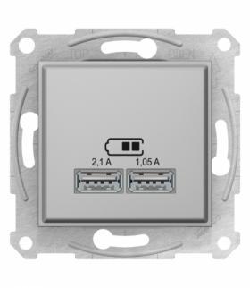 Sedna Gniazdo ładowarki USB 2.1A aluminium Schneider SDN2710260