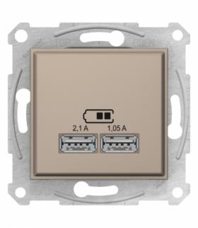 Sedna Gniazdo ładowarki USB 2.1A satyna Schneider SDN2710268