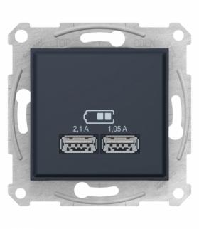 Sedna Gniazdo ładowarki USB 2.1A grafit Schneider SDN2710270