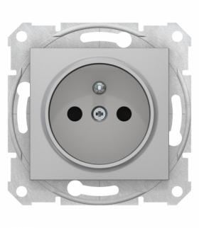 Sedna Gniazdo pojedyncze 2P+PE z przesłonami aluminium Schneider SDN2800160