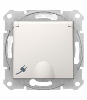 Sedna Gniazdo pojedyncze 2P+PE z przesłonami IP44 krem Schneider SDN2800323