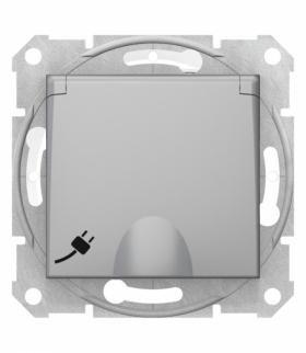 Sedna Gniazdo pojedyncze 2P+PE z przesłonami IP44 aluminium Schneider SDN2800360