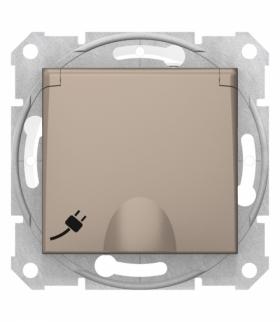 Sedna Gniazdo pojedyncze 2P+PE z przesłonami IP44 satyna Schneider SDN2800368