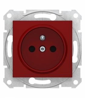Sedna Gniazdo pojedyncze 2P+PE z przesłonami czerwony Schneider SDN2800441
