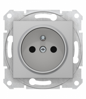 Sedna Gniazdo 2P+PE z przesłonami szybkozłączka aluminium Schneider SDN2800760