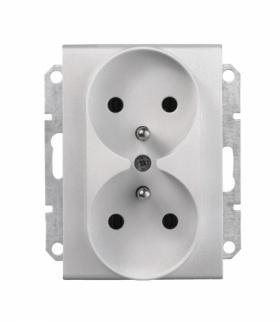 Sedna Gniazdo podwójne 2P+PE do systemu ramkowego aluminium Schneider SDN2800960