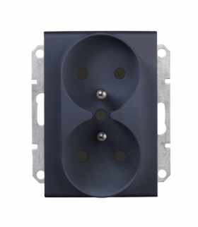 Sedna Gniazdo podwójne 2P+PE do systemu ramkowego grafit Schneider SDN2800970