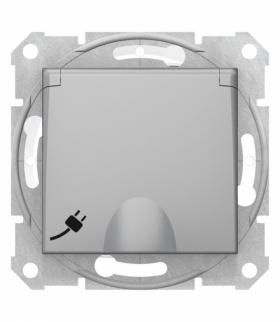 Sedna Gniazdo pojedyncze Schuko IP44 aluminium Schneider SDN3100360