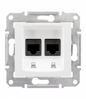 Sedna Gniazdo komputerowe 2x RJ45 kat.6 STP biały Schneider SDN5000121