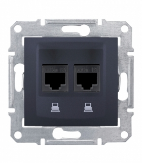 Sedna Gniazdo komputerowe 2x RJ45 kat.6 STP grafit Schneider SDN5000170