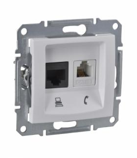 Sedna Gniazdo telefoniczne RJ11+komputerowe kat.5e UTP biały Schneider SDN5100121