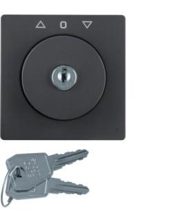 Q.x Płytka czołowa z kluczem do łącznika żaluzjowego na klucz antracyt, aksamit Berker 1082608600