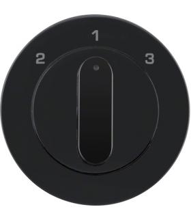 R.1/R.3 Płytka czoł. z pokrętłem do łącznika 3-poz. bez pozycji 0 czarny połys Berker 1084204500