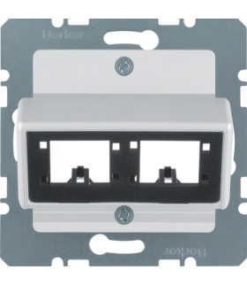 B.Kwadrat/B.7 Płytka czołowa do 1 lub 2 modułów 1-kr R De-M, aluminium mat, lak Berker 14721404