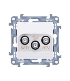 Gniazdo antenowe SAT-SAT-RTV satelitarne podwójne tłum.:1dB biały CASK2F.01/11