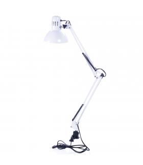 Lampka biurkowa kreślarska BIAŁA E27 z uchwytem LK-01