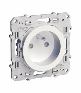 Odace Gniazdo pojedyncze 2P+PE (DIY) z przesłonami (zaciski śrubowe) biały Schneider S52D039