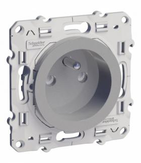 Odace Gniazdo pojedyncze 2P+PE (DIY) z przesłonami (zaciski śrubowe) aluminium Schneider S53D039